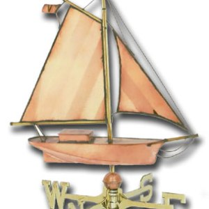 Large Sloop Copper Weathervane-0