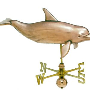 Large 3-D Dolphin Copper Weathervane-0