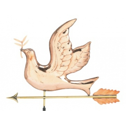Polished Copper Peace Dove on Arrow Rooftop Vane-0