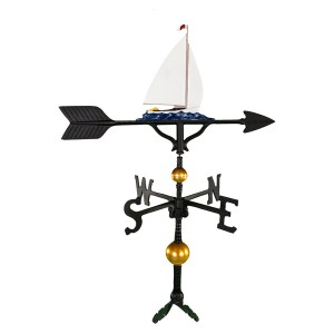 "Old Barn Rustic Co. 32"" Deluxe Sailboat Aluminum Weathervane -0"