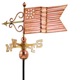 American Flag Weathervane Hand Crafted From Pure Copper -0