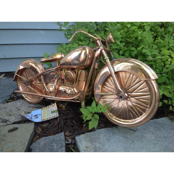 Motorcycle Weathervane 669 - Polished Copper-3939