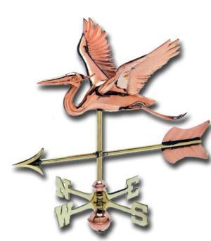 Heron 3-D Cottage Copper Weathervane-0