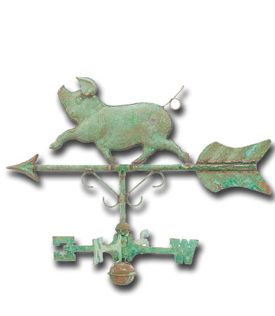 Whimsical Pig Garden Copper Weathervane-0