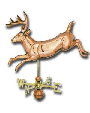 Jumping Deer 3-D Copper Weathervane-0