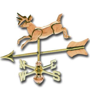 Jumping Deer 3-D Cottage Copper Weathervane-0
