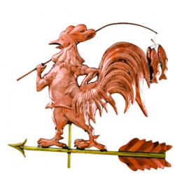 Fishing Rooster Copper Weathervane