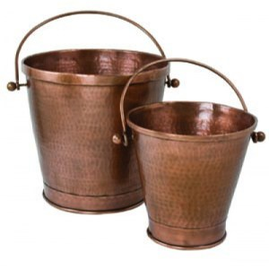 Set of Two Copper Buckets-0