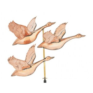 Flying Geese 3-D Copper Weathervane-0