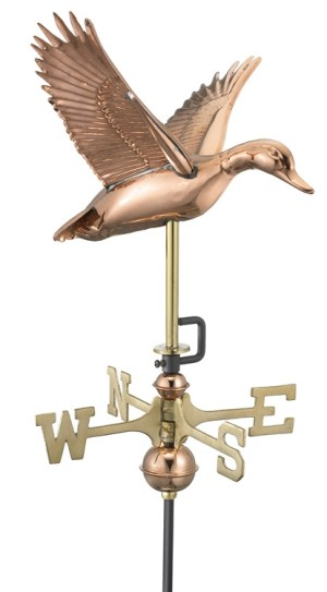 Cottage Size Flying Duck Pure Copper Handcrafted Weathervane-0