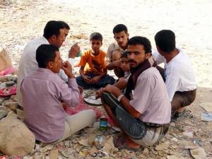 6 men eating