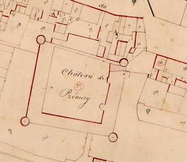 Château de Prémery Cadastre ancien 1840 AD Nièvre