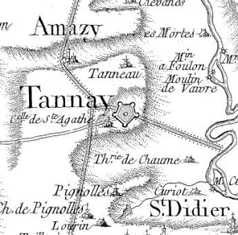 Plan Tannay carte Cassini 48 - Cosne