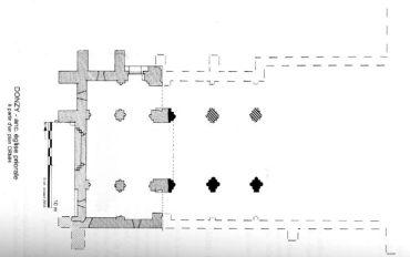 Plan des vestiges de l'abbaye de Donzy-le-Pré
