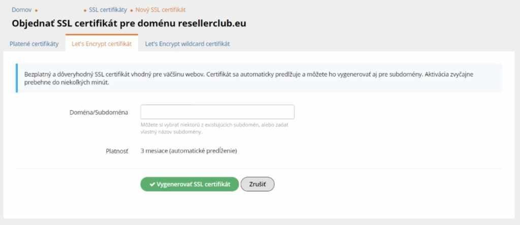 instalacia ssl certifikatu na wy.sk