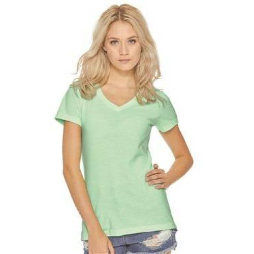 Women's Sueded Short Sleeve V