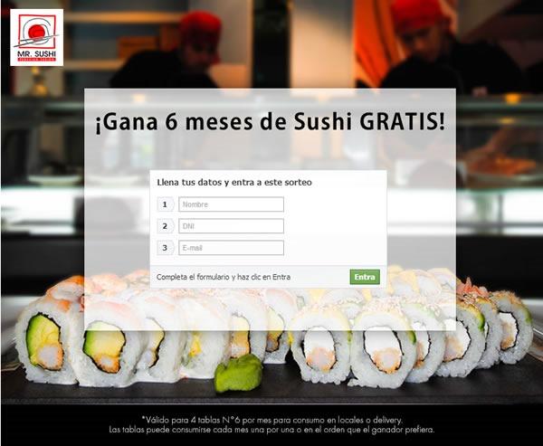 Concursa y gana sushi gratis por 6 meses