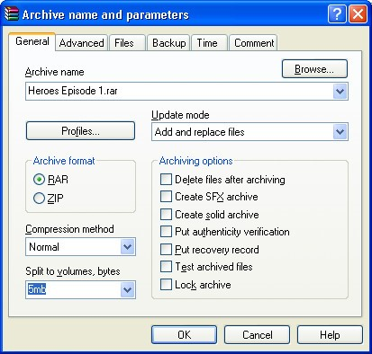 Split files using WinRAR