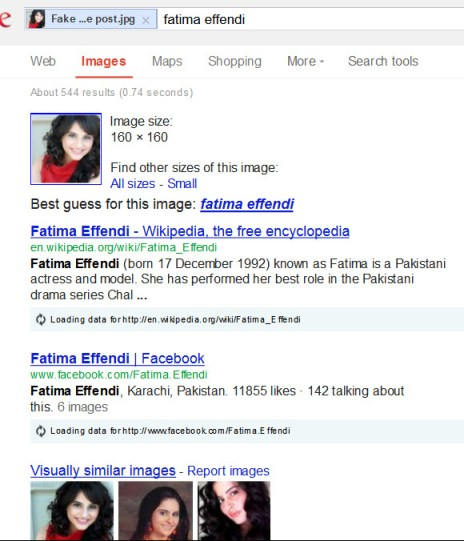 Detect fake Facebook profile by google image search