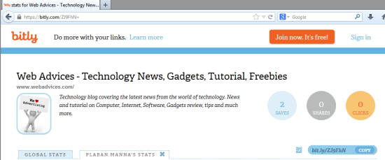 Bitly preview shortened url