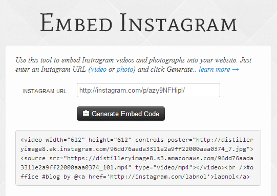 Embed Instagram Videos