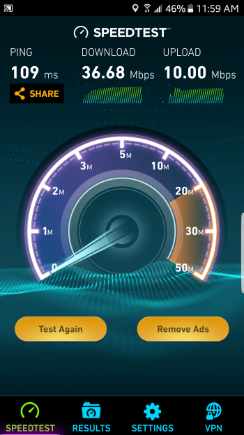 JioFi mobile speedtest