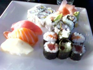 Sushi and Sashimi lunch special a Tsunami