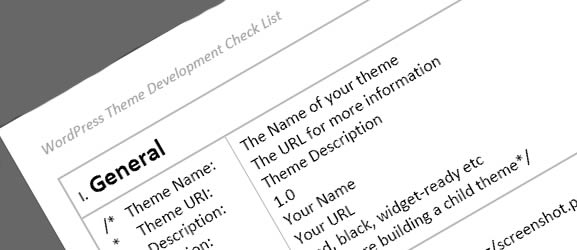 WordPress Theme Development Check List
