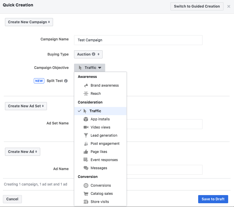 facebook ad backend screen shot. how much do facebook ads cost facebook objectives