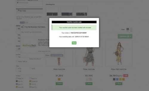 Dès que le like est fait, l'utilisateur voit tout de suite son coupon de réduction.
