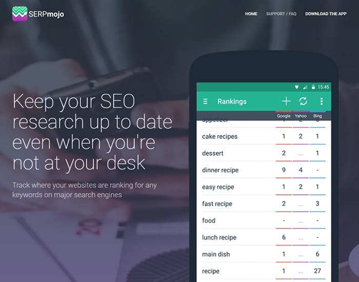 serp - Keep your SEO research up to date even when you're not at your desk