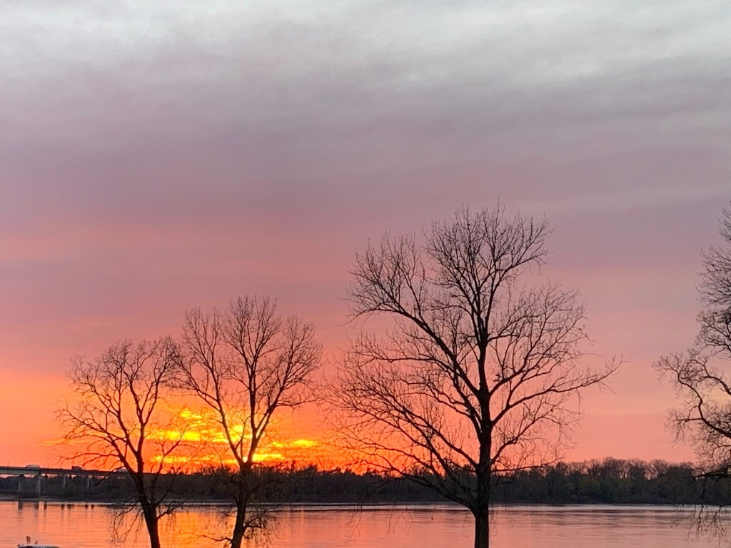Winter Sunsets on the Mississippi River.