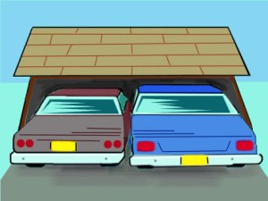 couple of cars in a garage