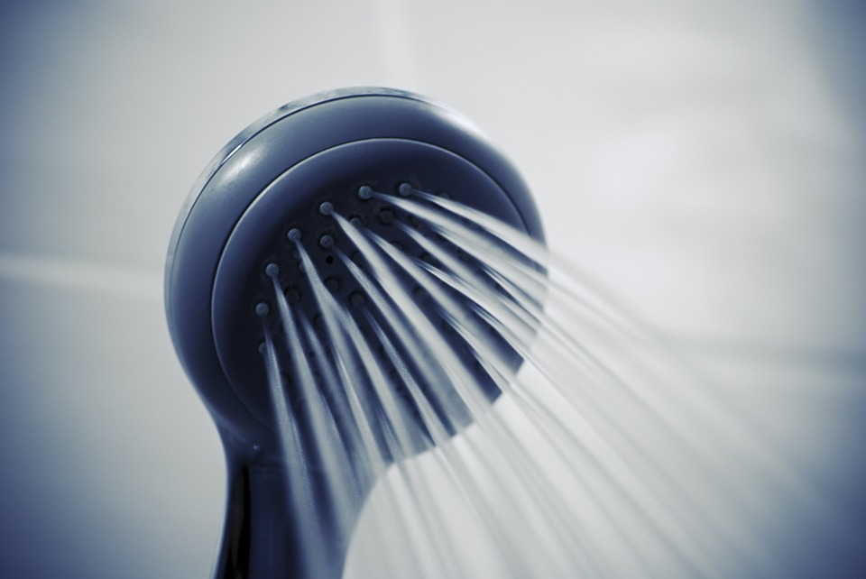 water coming out from a shower head