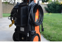 orange pressure washer with cords