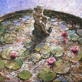 Cherub and lilies 80x80cm