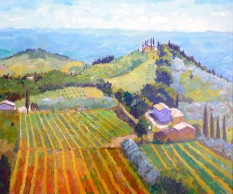 Vines and Olive groves, San Gimignano, Tuscan