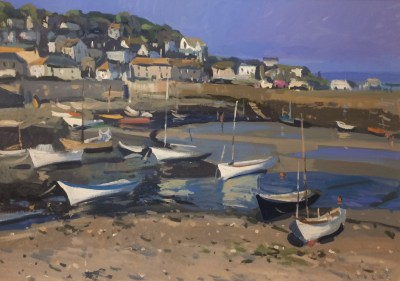 Mousehole harbour. Acrylic on board, 79x56cm