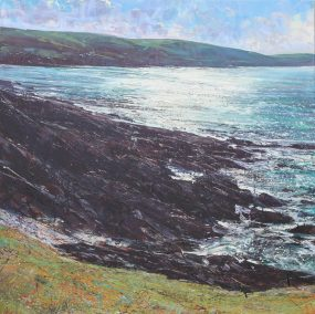 Looking back to Putsborough, oil on canvas, 120 x 120 cm