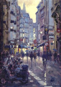18, Evening Rian, Saint Germain-des-Pres, Paris 30 x 40 cm oil on board