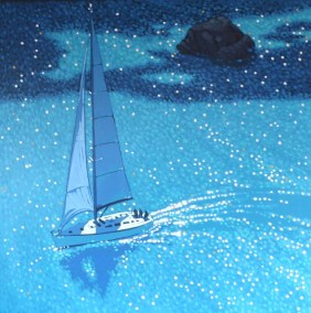 Sailing on by single yacht rock