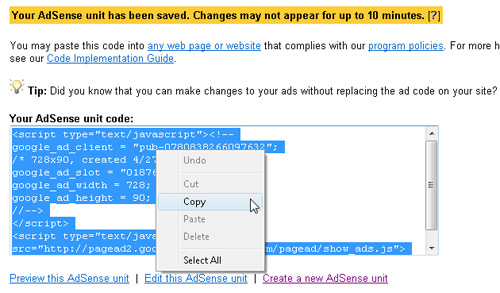 Insert Google Ads with Dreamweaver image 3