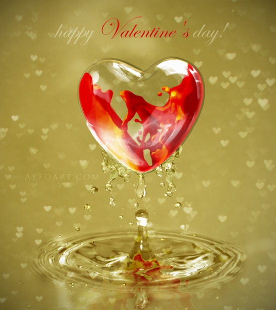 Happy Valentine's day card. Photoshop tutorial
