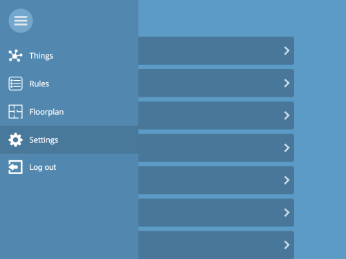 The menu from the gateway with settings highlighted
