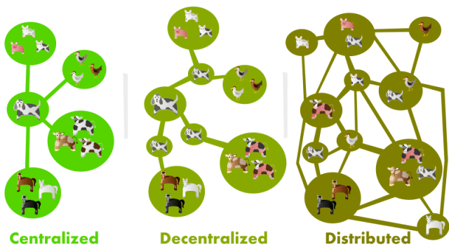 visual representation of central, decentralized, and distributed networks