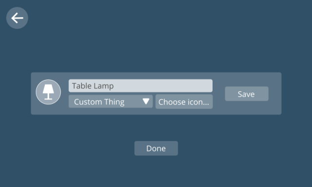 Image showing UI for choosing an image icon for different types of things