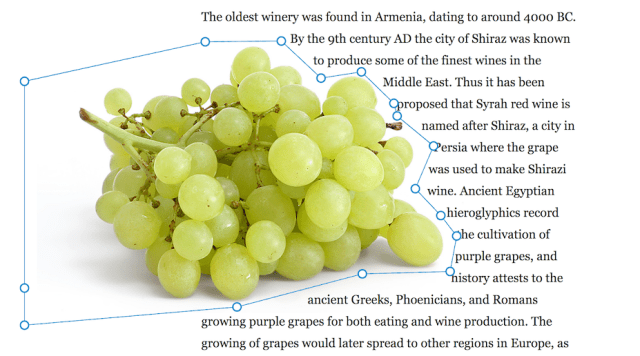 A CSS shape around several grapes