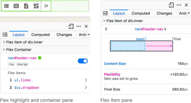 Screenshot showing the particular Flex highlighter, Flex Container lite, and Flex Item pane
