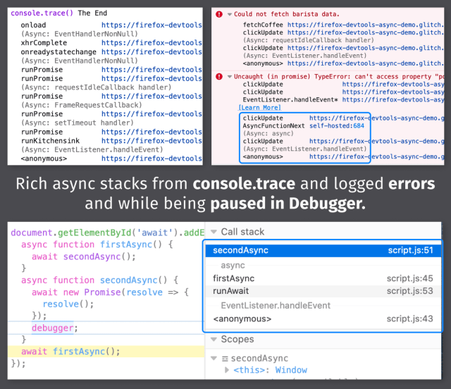 Async stacks in Console & Debugger