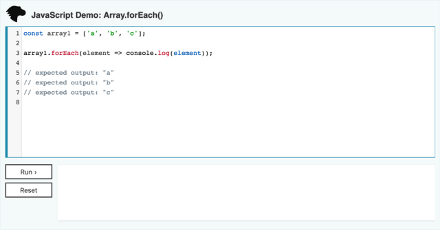 an interactive code example on MDN